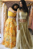 Off Shoulder Gold Blouse & Gold Lehenga