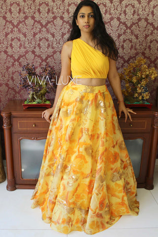 Yellow One Shoulder Skirt Set