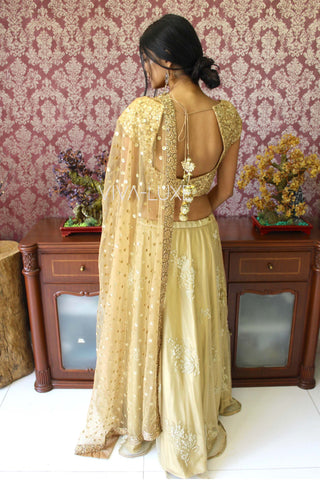 Gold Sequins Work Blouse With Gold Net Lehenga
