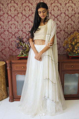 White Lehenga With White Chiffon Fringe Dupatta