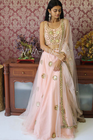 Blush Pink Mirror Work Lehenga