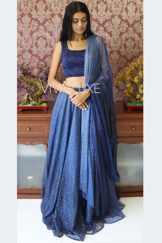 Hand Embroidered Blue Ombre Lehenga