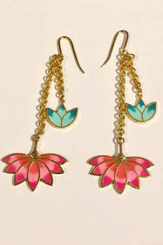 Pink Lotus Earrings