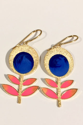Dark Blue Blooming Flower Danglers
