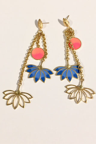 Blue Lotus Charm Earrings