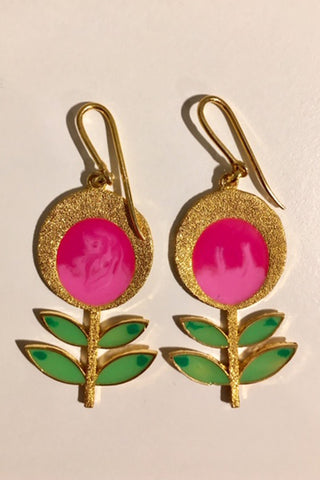 Dark Pink Blooming Flower Danglers