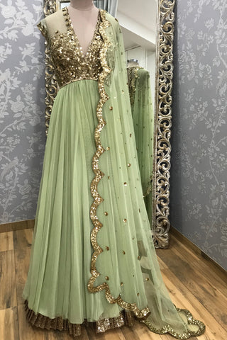 Olive Green Floor Net Anarkali With Gold Embroidery
