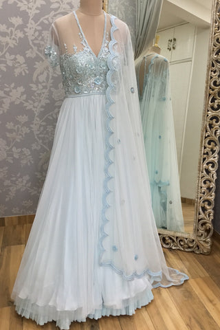 Blue Floral Sequin Net Anarkali