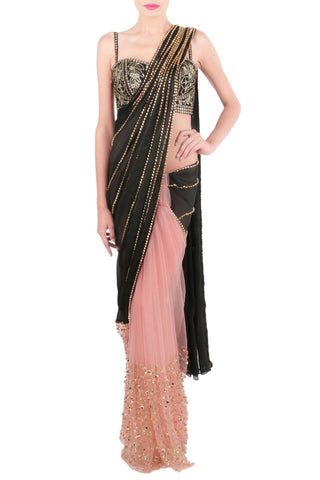 Baby Pink and Black Saree Front
