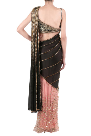 Baby Pink & Black Saree