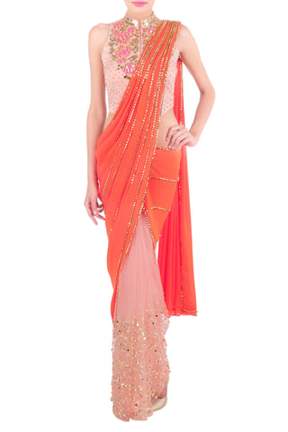 Baby Pink & Orange Saree Front