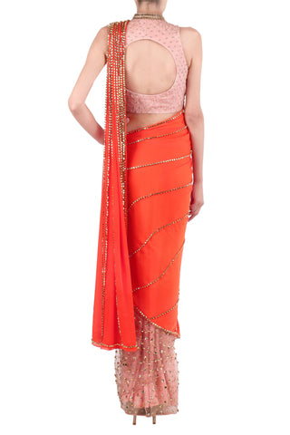 Baby Pink & Orange Saree
