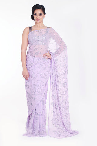 READY TO SHIP: Baby Lilac Chiffon Saree with Sequins