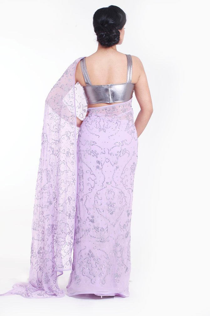 READY TO SHIP: Lilac Chiffon Saree with Sequins