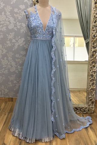 Dull Blue Net Anarkali