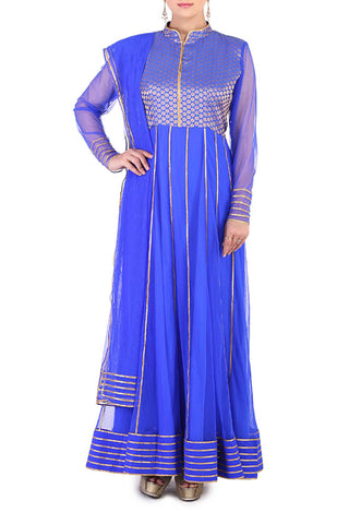 Royal Blue Anarkali Front