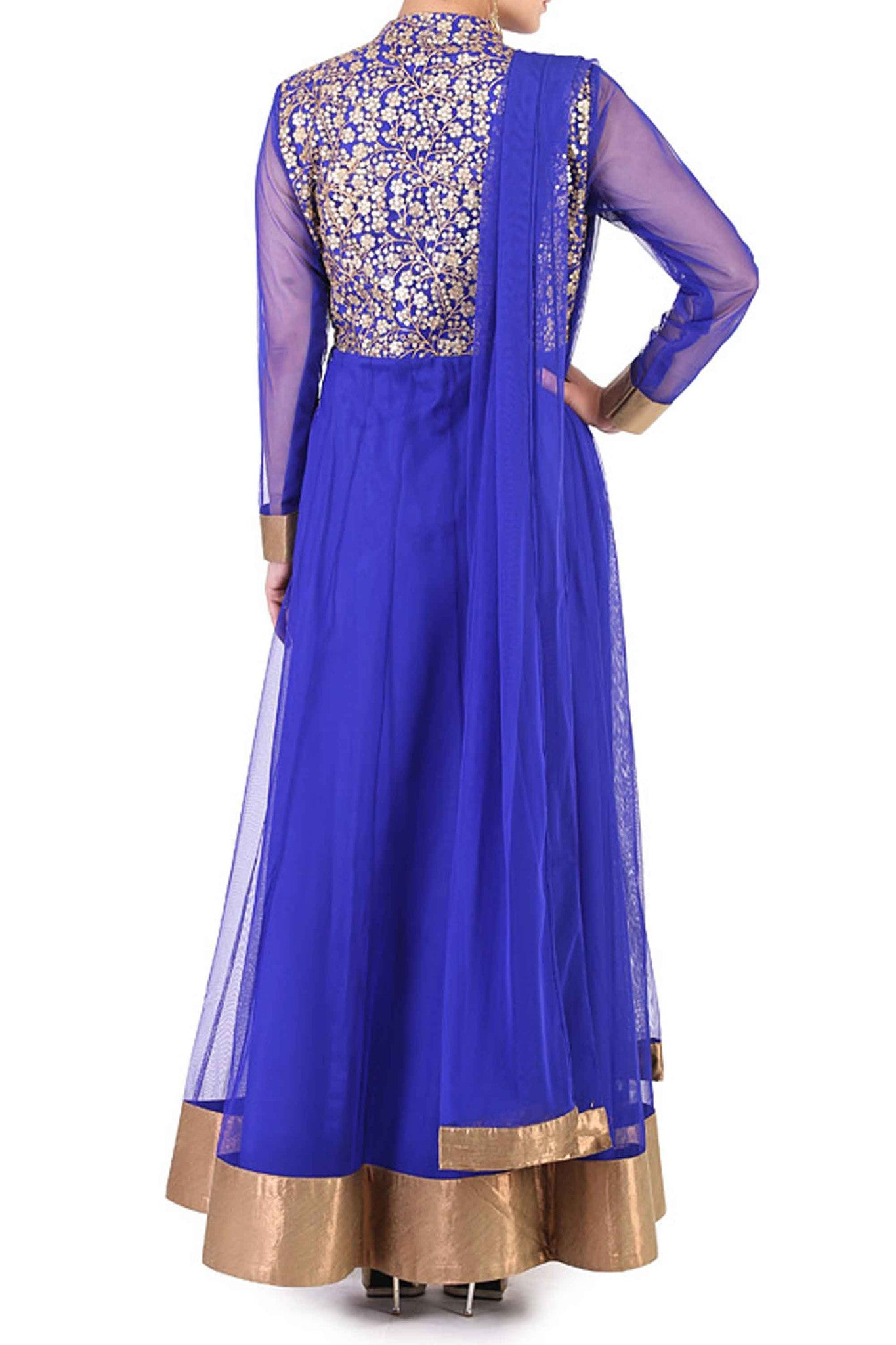 Navy Blue Anarkali Back