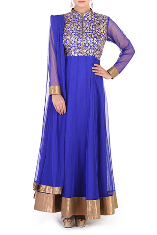 Navy Blue Anarkali Front