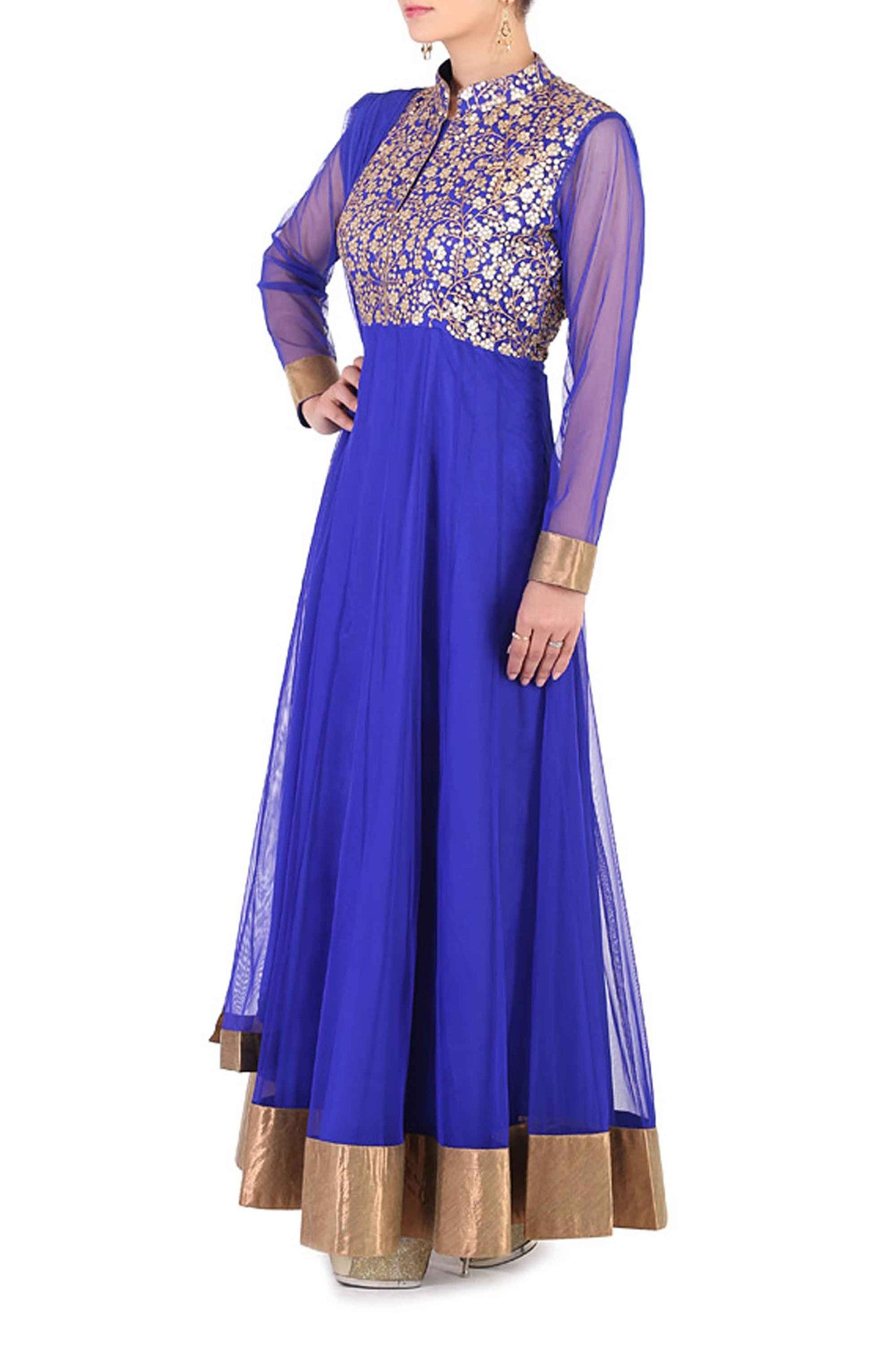 Navy Blue Anarkali Side