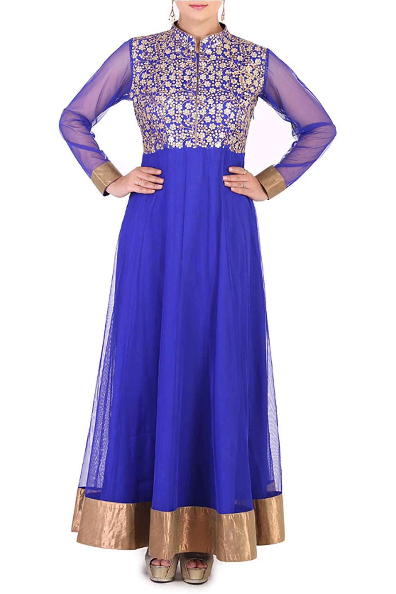 Navy Blue Anarkali CloseUp