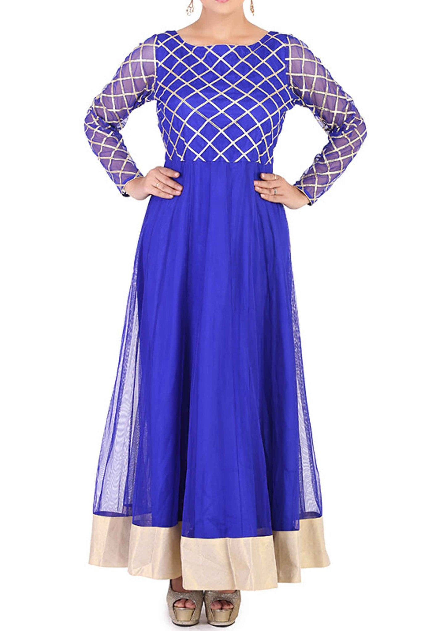 Blue Gota Work Anarkali CloseUp