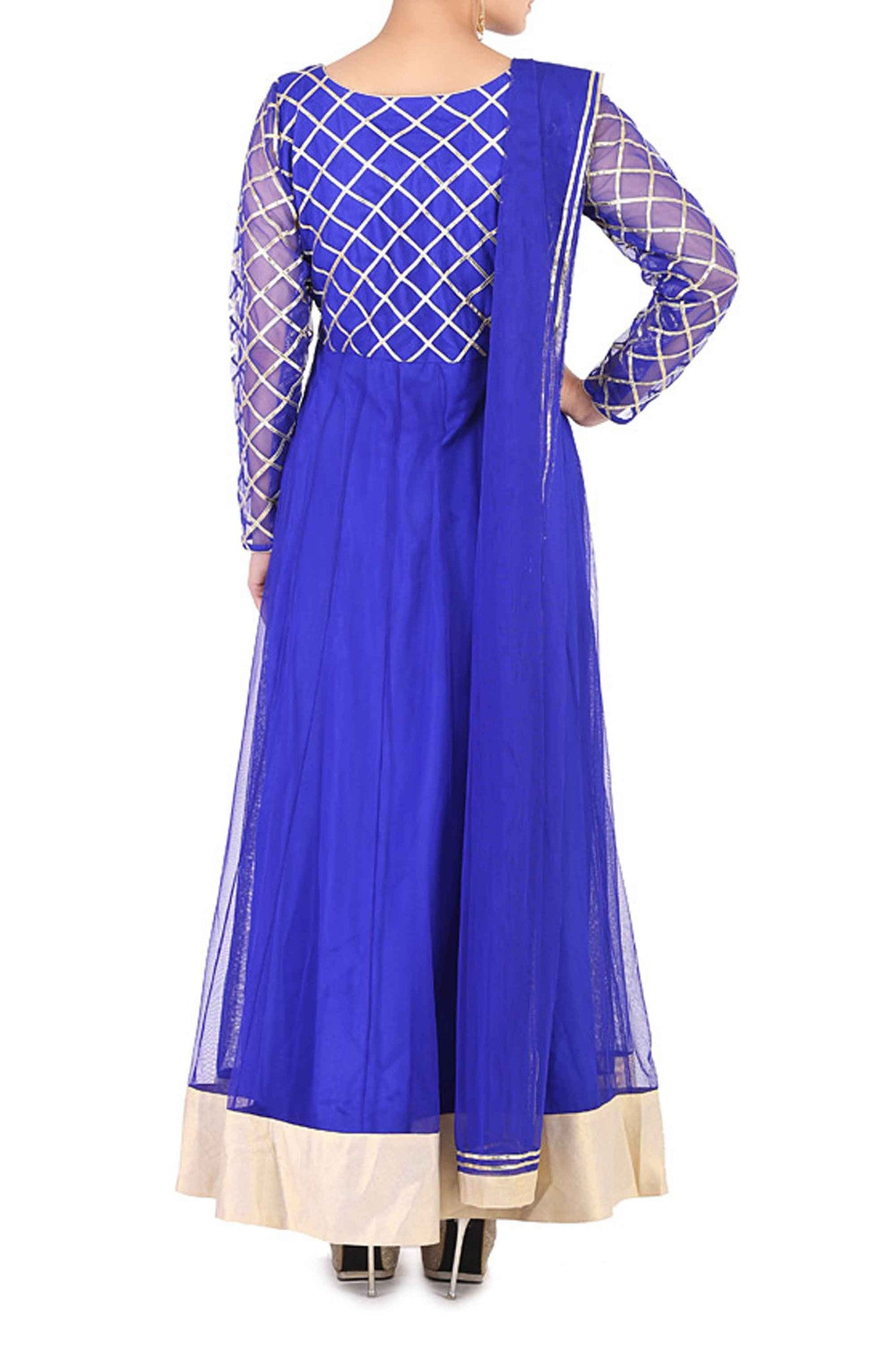 Blue Gota Work Anarkali Back