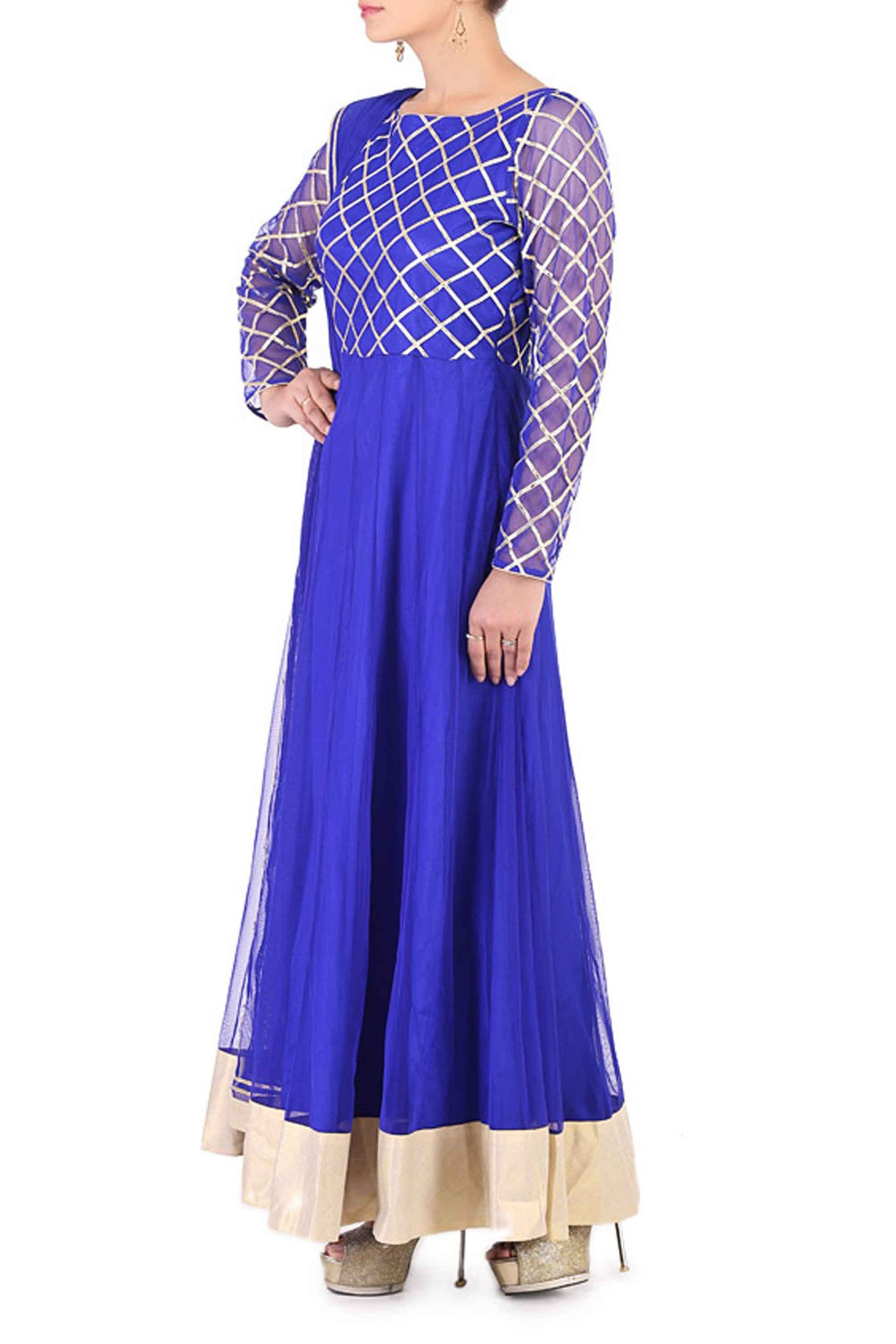 Blue Gota Work Anarkali Side