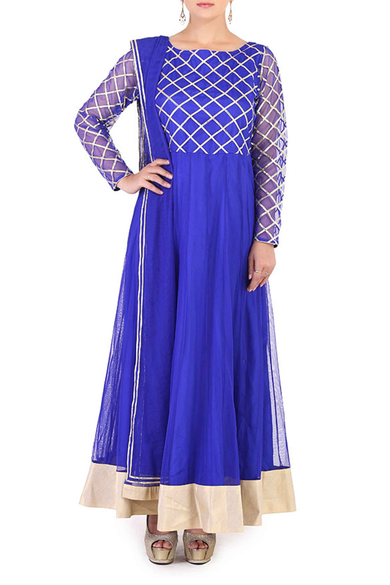Blue Gota Work Anarkali Front