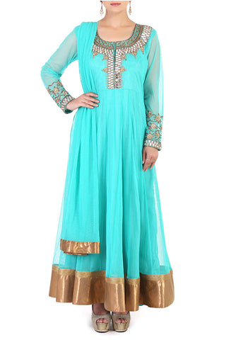 Sea Green Anarkali Front