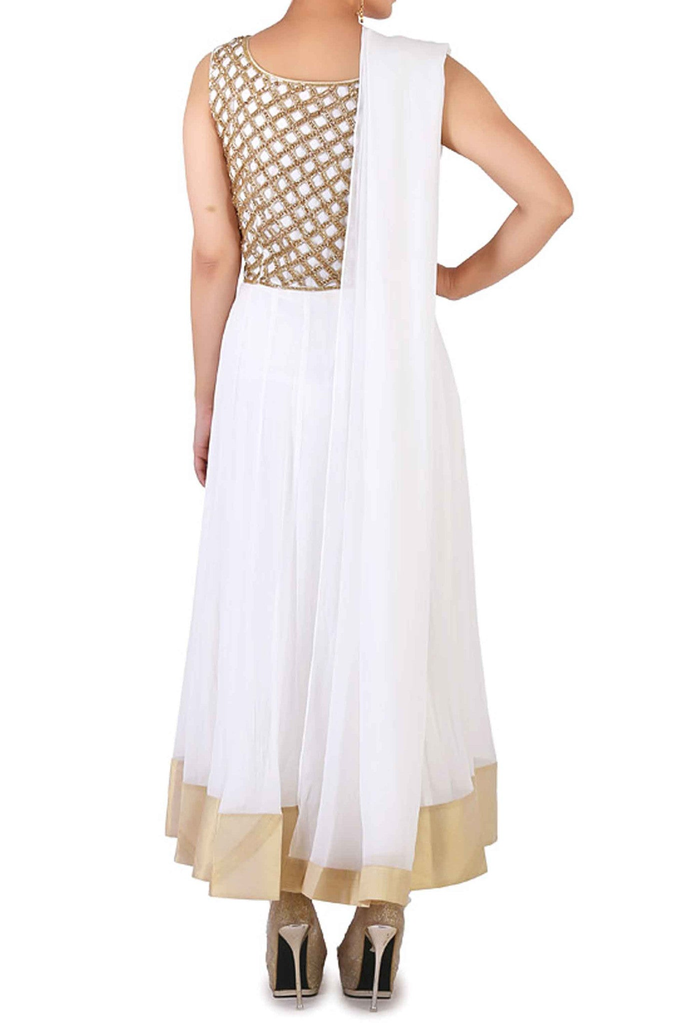 White Cut Work & Swarovski Anarkali Back