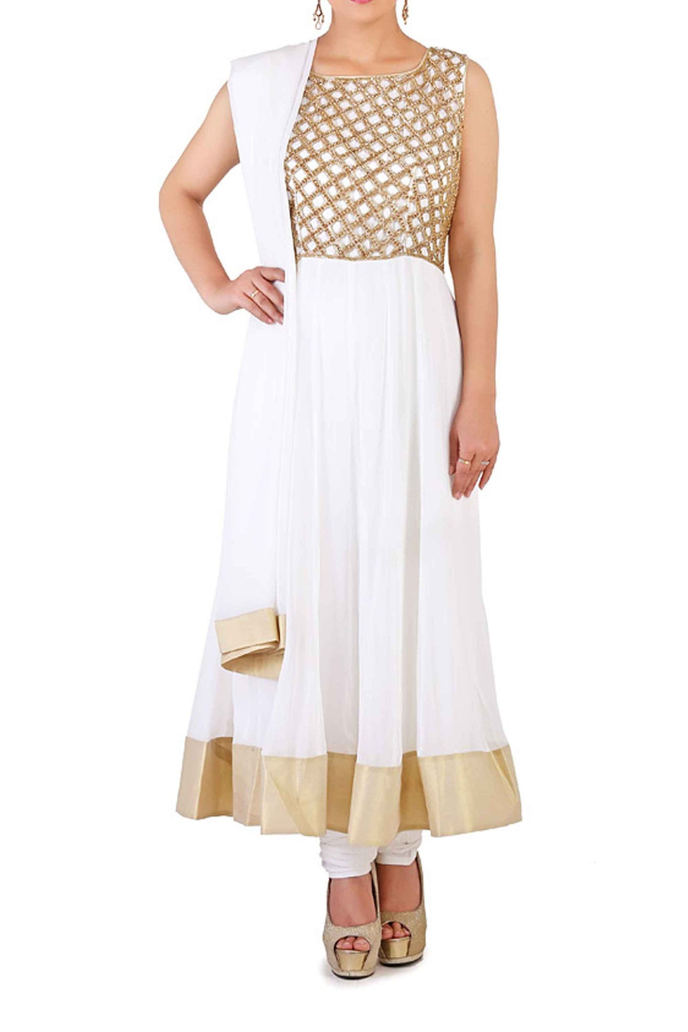 White Cut Work & Swarovski Anarkali Front