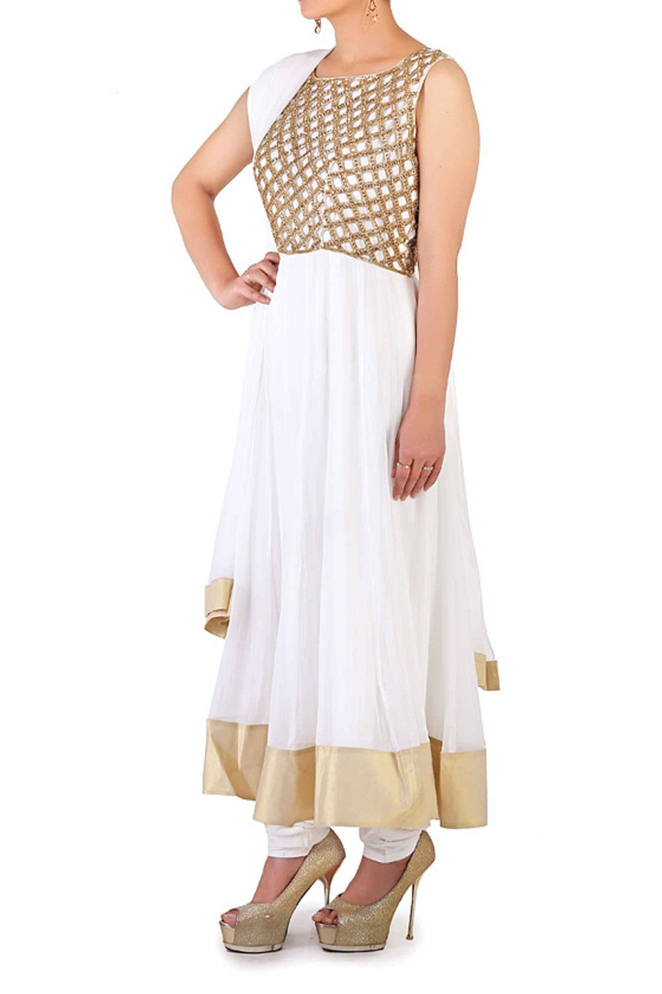 White Cut Work & Swarovski Anarkali Side