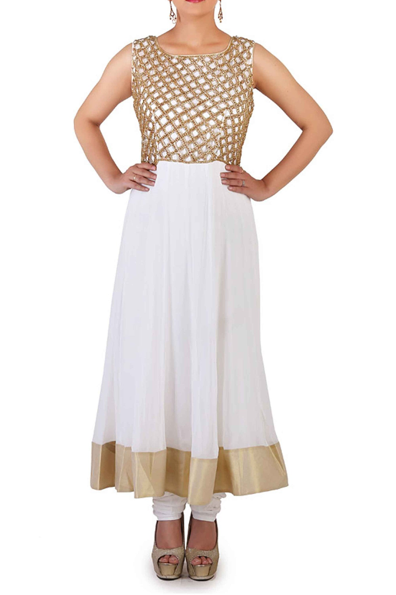 White Cut Work & Swarovski Anarkali CloseUp