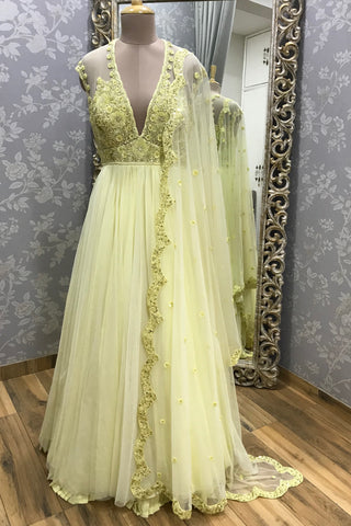 Lemon Yellow Net Anarkali