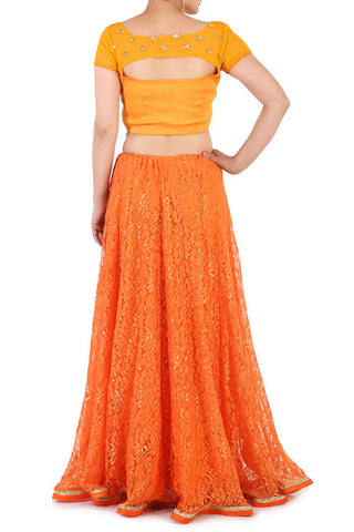 Blooming Orange Lehenga