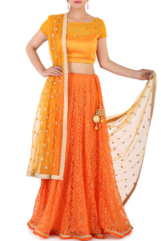 Blooming Orange Lehenga Front