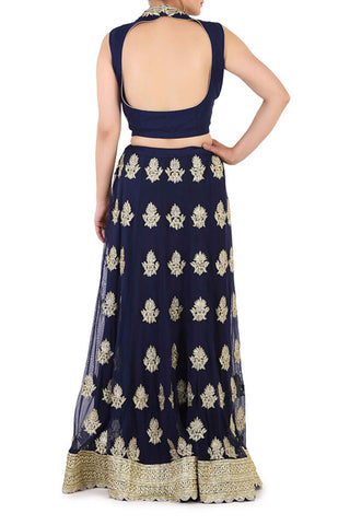 Midnight Blue Thread Work Lehenga