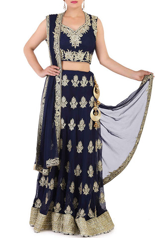Midnight Blue Thread Work Lehenga Front