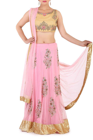 Pastel & Thread Work Lehenga Front
