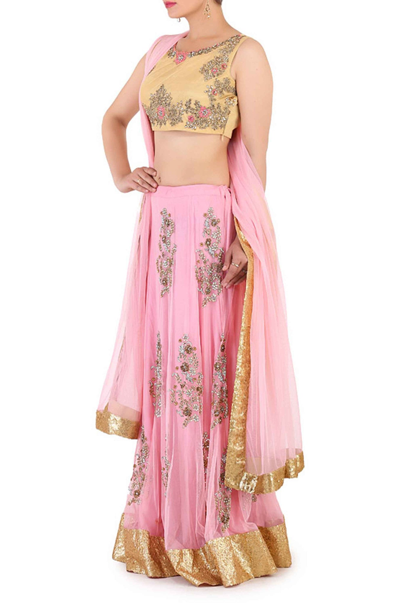 Pastel & Thread Work Lehenga Side