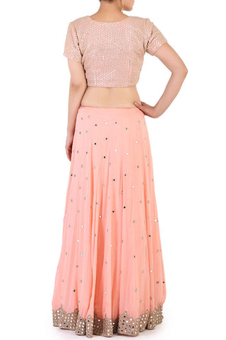 Peach Mirror Work Lehenga