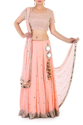 Peach Mirror Work Lehenga Front
