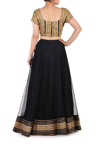 Black & Antique Gold Lehenga
