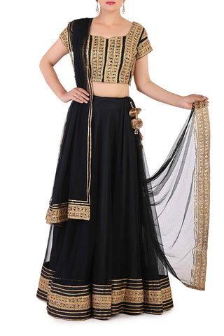 Black & Antique Gold Lehenga Front