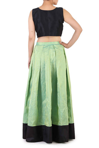 Black & Mint Silk Lehenga