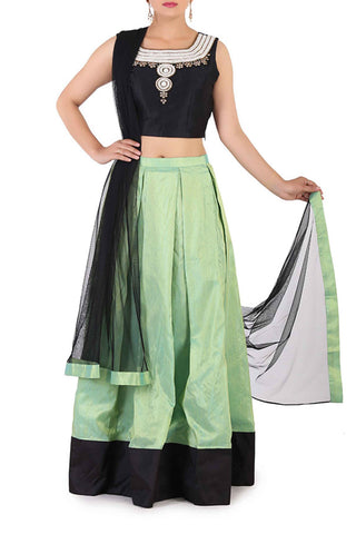 Black & Mint Silk Lehenga Front