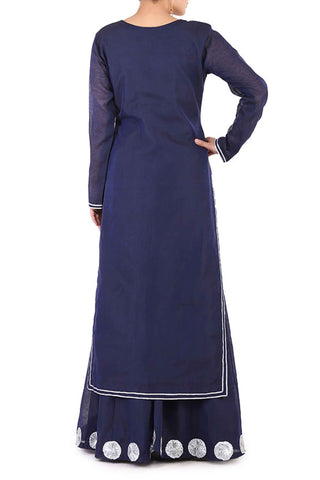 Navy Chanderi Lehenga Suit