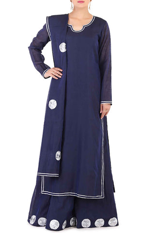 Navy Chanderi Lehenga Suit Front