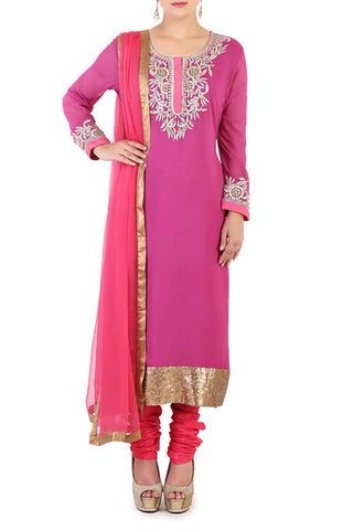 Fuchsia Georgette Suit Front