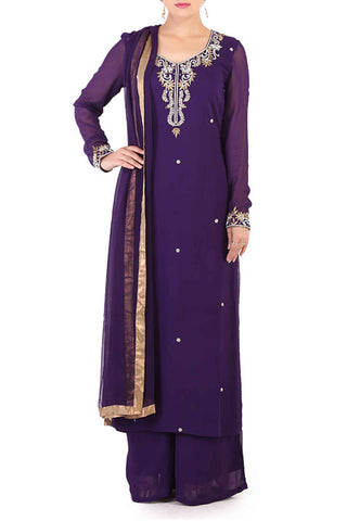 Grape Georgette Suit Front